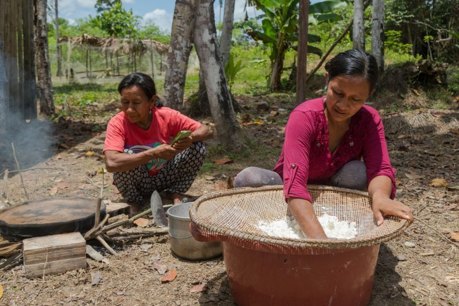Goldman Prize winner Liz Chicaje Churay grinds yuca to extract its starch. Courtesy of Goldman Environmental Prize