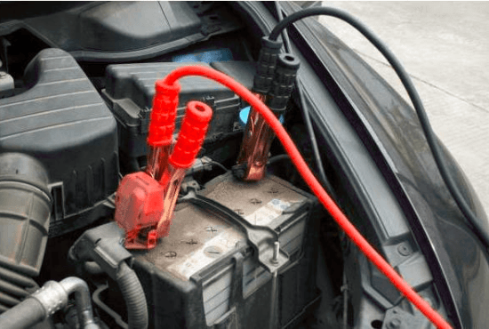 Alligator clips on car battery