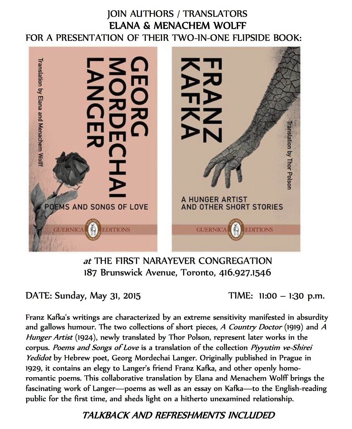 Coming up in Toronto on May 31: Presentation by Elana