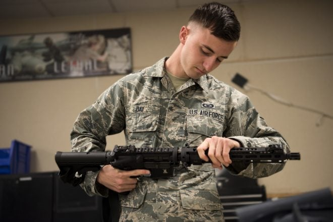 Airman with 366th OSS assembles GAU-5A Aircrew Self Defense Weapon 190506-F-MM641-005