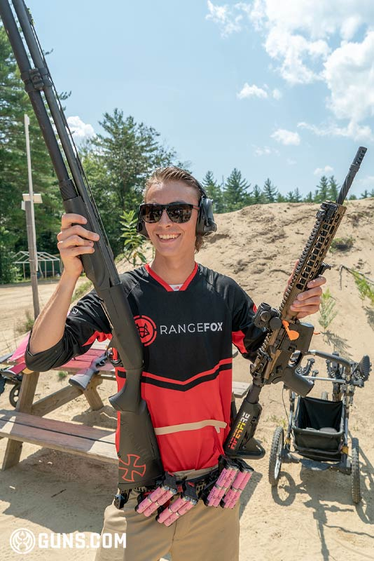 Ivan Bjornlund with his guns at the 3-gun event at Pioneer Sportsmen on July 28, 2019.