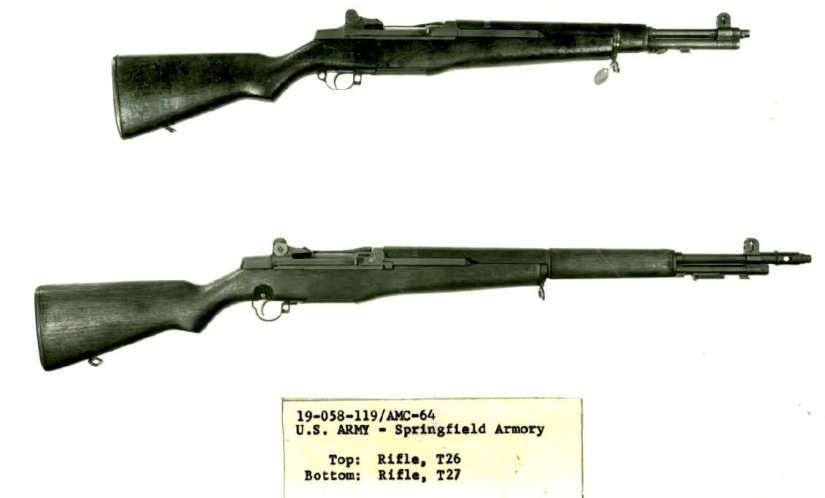 T26 Rifle resembles standard M1 except for markedly shortened barrel and trigger guard T27 at bottom 119-64.A.1
