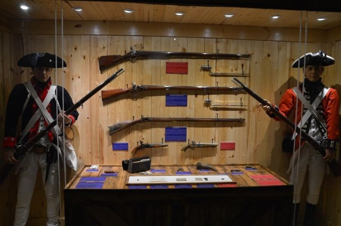 Revolutionary War weapons such as British Brown Bess and French 1777 Charleville muskets along w Pennsylvania rifles.