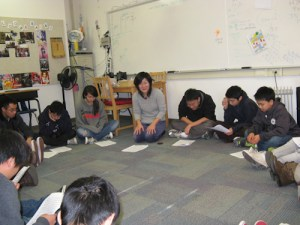 Tamagawa Exchange Teacher Visits Upper School's Music and Performing Arts Classes