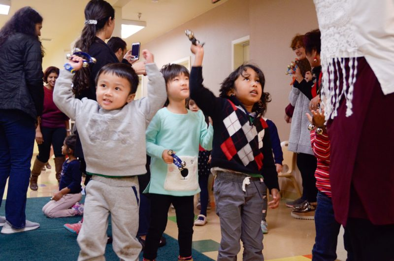 Preschoolers celebrate the season with a sing along