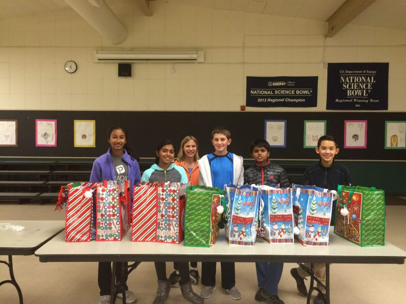 Grade 6 families put together holiday dinner baskets for homeless shelter