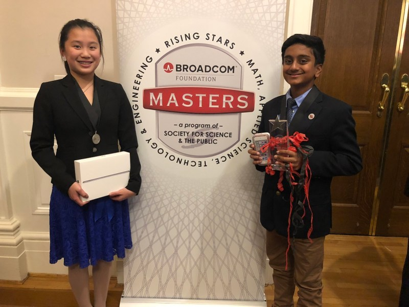 Two students win recognition and prizes in Broadcom MASTERS competition