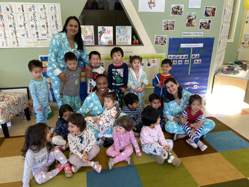 Pajama day preschoolers learn about being thankful and giving on cozy day