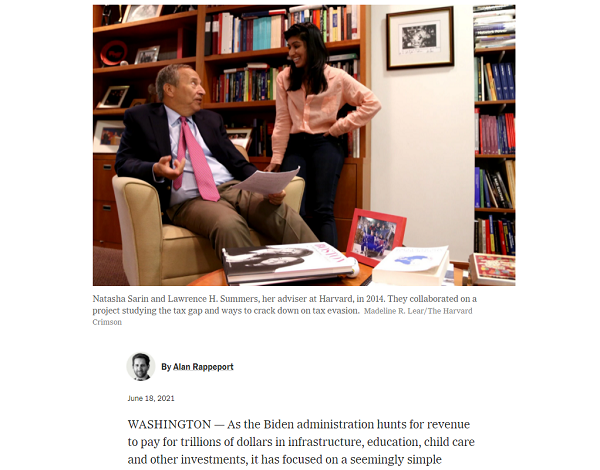 Natasha Sarin '07, now working in the Biden administration, featured in NYT