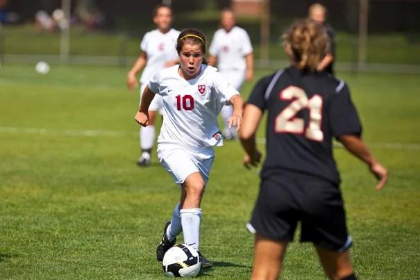 Crimson midfielder Melanie Baskind '12 tallied her first goal of the season on Sept. 26 to put the Crimson up 2-1.