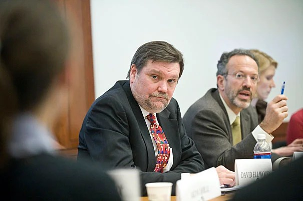 HKS Dean David T. Ellwood (left), co-taught the course with Professor Christopher Stone (right).