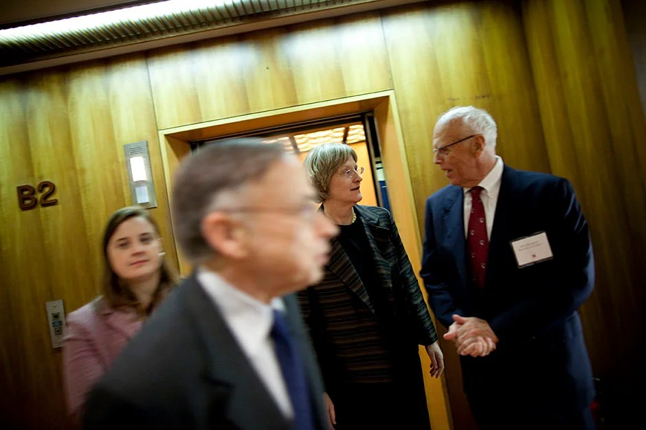 Faust attends the Harvard Club of Japan Dinner at Hotel Okura. Rosenberg (second from left), Faust, and Jack Reardon arrive at the event.  Stephanie Mitchell/Harvard Staff Photographer