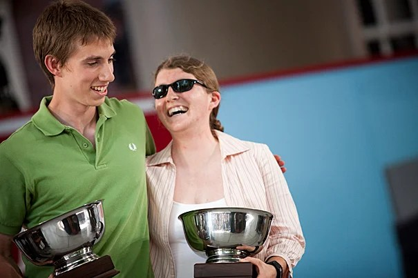 The Ames Award was presented to Adam Travis (left) and Tayla Havice during Class Day.