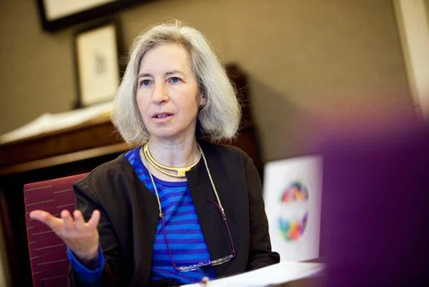 Harvard Law School Dean Martha Minow and Harvard Law Professor Noah Feldman speak about the current supreme court with the Harvard Gazette. Martha Minow (pictured) and Noah Feldman speak in Griswold Hall at Harvard University. Stephanie Mitchell/Harvard Staff Photographer