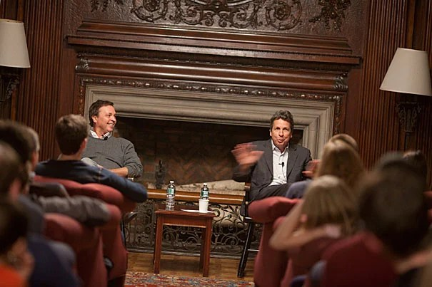 """Peter (left) and Bobby Farrelly entertained Kirkland House in the popular series """"Conversations with Kirkland."""""""