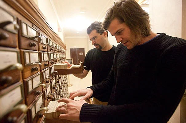 Researchers have been tracking the frequency with which words appear in books, allowing scholars the ability to more precisely quantify a wide variety of cultural and historical trends. Leading the four-year effort are Harvard's Jean-Baptiste Michel (foreground), a postdoctoral researcher in the Department of Psychology and Program for Evolutionary Dynamics, and Erez Lieberman Aiden, a junior fellow in Harvard's Society of Fellows.
