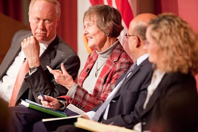 """""""People write about leadership without ever getting around to defining it,"""" said Nan Keohane (second from left) during a leadership forum sponsored by the Harvard Kennedy School. David Gergen (far left), director of the Center for Public Leadership, moderated the discussion, which included Nitin Nohria, dean of Harvard Business School and Monica Higgins, a professor at the Harvard Graduate School of Education."""