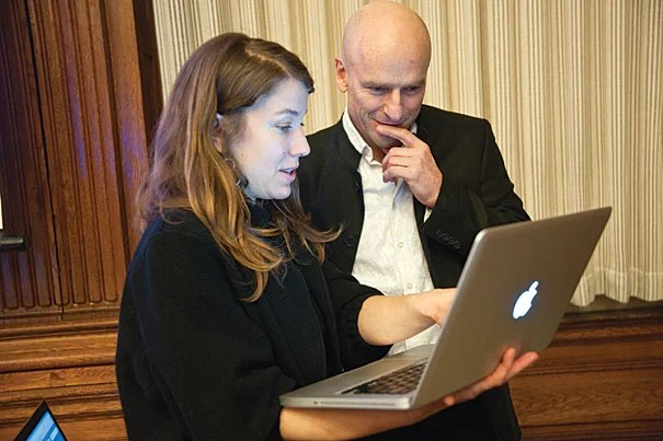 """Kara Oehler and Jeffrey Schnapp of the metaLAB (at) Harvard confer at Digital Humanities 2.0, a recent panel at the Barker Center. Schnapp calls the center """"a cluster of experiments"""" and """"an invitation"""" to Harvard's community of scholars — all of them poised at this new digital frontier."""