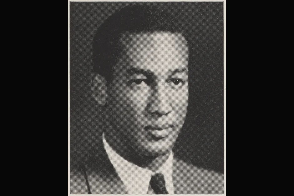 This 1943 yearbook close-up shows Drue King, whose membership in the 1941 Harvard Glee Club sparked a debate about segregation that contributed to the desegregation of venues for college musical groups touring the South. Credit: Harvard University Archives, call # HUD 343.04