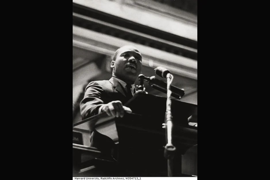 The Rev. Martin Luther King Jr. speaks at Harvard University. Credit: Schlesinger Library, Radcliffe Institute, Harvard University (http://www.radcliffe.edu/schles/)