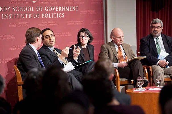 As Egyptians continued to occupy Tahrir Square Thursday night (Feb. 3), several Harvard experts offered their views on the wave of pro-democratic demonstrations in an event at the John F. Kennedy Jr. Forum at the Institute of Politics. Moderated by Nicholas Burns (far left), the panel included Tarek Masoud, Malika Zeghal, Roger Owen, and Rami Khouri.