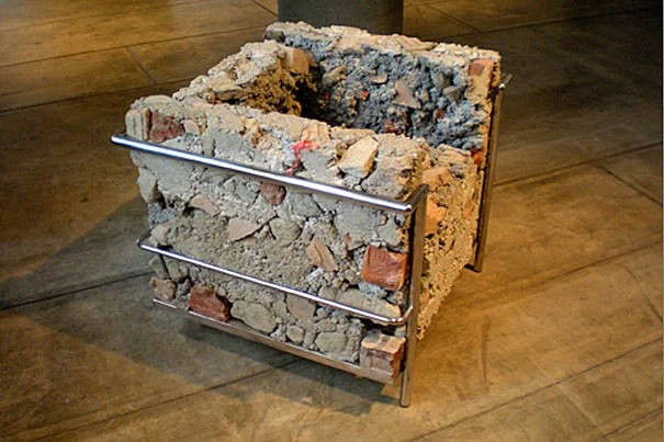"Los Angeles-based artist Liz Glynn '03, this year's Sert Practitioner, created a witty replica of a Le Corbusier chair — in concrete — on display at the Carpenter Center through Feb. 20. It's called ""On the Museum's Ruin (Morris Hunt – Corbusier – Piano),"" 2011."