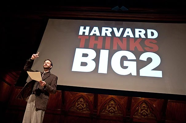 """The second annual Harvard Thinks Big, a student-organized discussion in which 10 speakers have 10 minutes to explore a topic near and dear to their hearts, brought a crowd to Sanders Theatre on Feb. 17. Capturing the stage was lecturer in music Richard Beaudoin, whose topic was """"Experiencing Time in Music."""""""