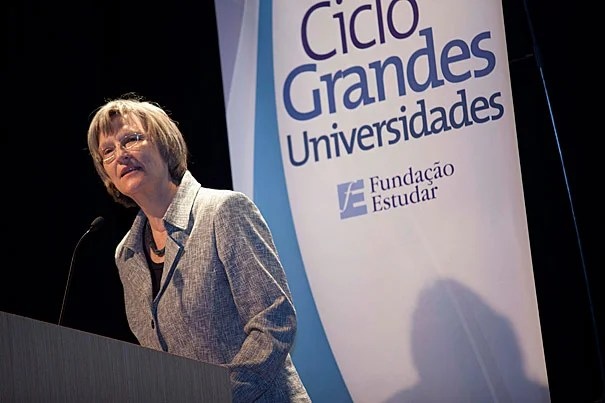 """""""Harvard is proud to be associated not only with Estudar and its founders but also with the many outstanding students whose education has been made possible by Estudar's support,"""" said President Drew Faust during a March 23 symposium in São Paulo, Brazil. Photo by Kris Snibbe/Harvard Staff Photographer"""