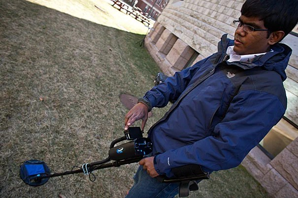 Lahiru Jayatilaka (above) and Krzysztof Gajos at the Harvard School of Engineering and Applied Sciences have helped develop a new and improved means of finding and removing land mines from current and former war zones. The new system uses smartphones with the conventional metal detectors to help de-miners better visualize what they are detecting.