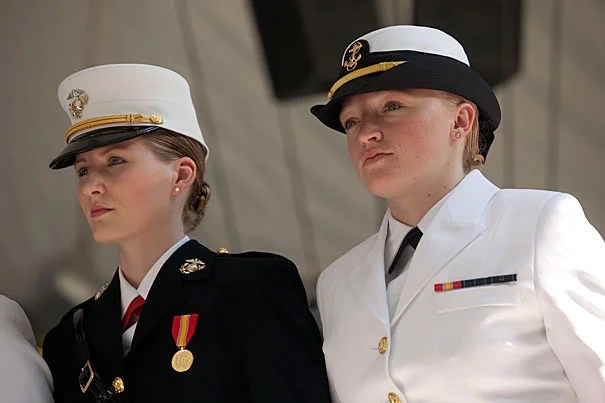 "Shawna Sinnott '10 (left) and Olivia Volkoff '10 are two of many Harvard alumni who are serving in the Army, Navy, or Marines. Volkoff, now an engineer at Naval Reactors headquarters in Washington, D.C., says ""It's hard to believe it's already been a year"" since her graduation. Sinnott credits her special concentration ""Understanding Terrorism"" for her success: ""Nowhere else would I have been able to create such an interdisciplinary concentration, learning from experts in every academic field."""
