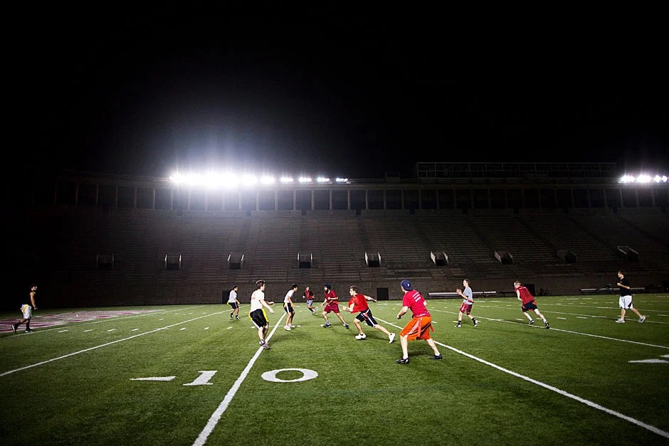 The stands at historic Harvard Stadium are empty, the vacant seats and aisles a dim reminder of the raucous crowds at major football games like Harvard-Yale. But most evenings, there is still plenty of action on the field — like the battle for the Straus Cup, where Winthrop House stands as the most formidable contestant. Stephanie Mitchell/Harvard Staff Photographer