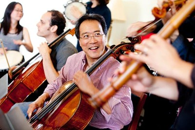 Cellist Yo-Yo Ma and the Silk Road Project performed and answered questions in the Spangler Center at Harvard Business School (HBS). In collaborating with HBS, the ensemble hopes to engage with and learn from future business leaders focused on social entrepreneurship.