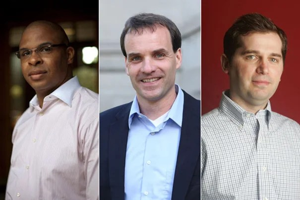 Three Harvard professors are among the 2011 MacArthur Fellows. They include economist Roland Fryer Jr. (from left), physicist Markus Greiner, and clinical psychologist Matthew K. Nock.