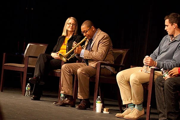Students from Harvard College and the Boston Arts Academy joined Wynton Marsalis (center) for a frank discussion about music ... and integrity.
