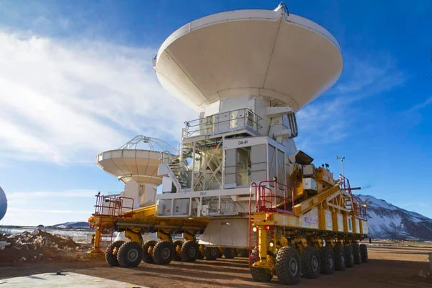An antenna is installed at the Atacama Large Millimeter/submillimeter Array (ALMA) in Chile. The 12-meter diameter antenna is one of 16 that will be used in the observatory's first round of scientific observations.