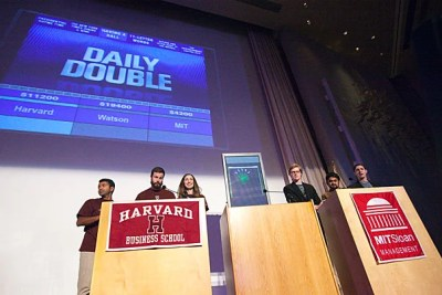 """Harvard Business School and MIT Sloan students put IBM's groundbreaking, """"Jeopardy!""""-winning computer to the test in a live match-up. But outsmarting Watson, it turns out, is a not-so-elementary task."""