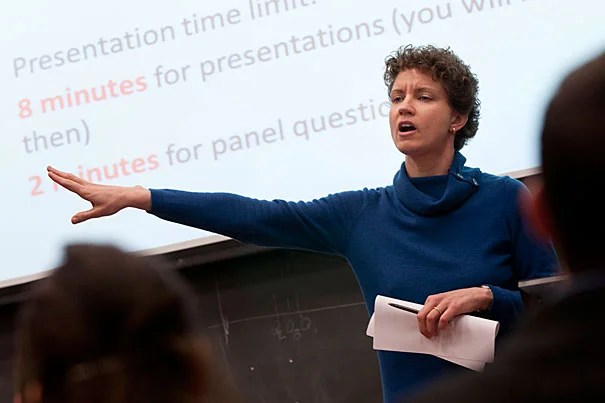 Stephanie Kayden, instructor in medicine at Harvard Medical School and Brigham and Women's Hospital, took a philosophy course in Emerson 101 while a student at Harvard. Now, she's at the front of that very classroom, teaching a course on humanitarian studies.