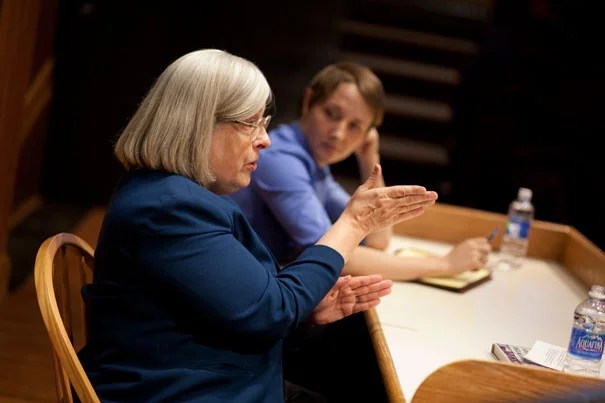 """Theda Skocpol (left) and Vanessa Williamson gave a talk on their book, """"The Tea Party and The Remaking of Republican Conservatism."""" Their research indicated three main forces behind the movement's success: grassroots activism, funding from wealthy conservative advocacy groups, and publicity from right-leaning broadcasters."""