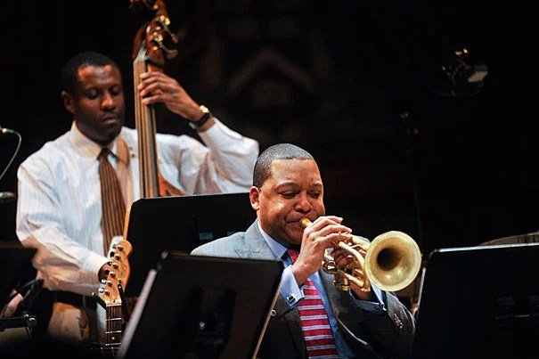 "Backed by an all-star band, Wynton Marsalis explored the ""mulatto identity of our national music"" with a rollicking performance and a thoughtful lecture on America's porous tuneful genres."