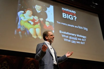 """""""The message of Michelle Obama's 'Let's Move' program is drowned out by the $2 billion spent to market unhealthy food to children,"""" said Evolutionary Biology Professor Daniel Lieberman during """"Harvard Thinks Big"""" event at Sanders Theatre."""