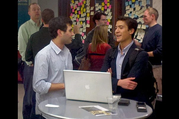 Zachary Hamed '14 (left) chats with Stanford sophomore John Yang-Sammataro (right) during the trip to Silicon Valley.