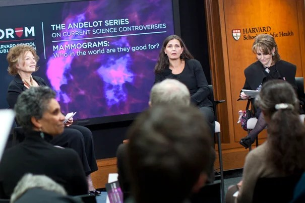 """Mette Kalager, pictured (center) at a School of Public Health Event in March 2011, is lead author of new research linking mammograms to significant overdiagnosis of breast cancer. """"Mammography might not be appropriate for use in breast cancer screening because it cannot distinguish between progressive and nonprogressive cancer,"""" she said."""