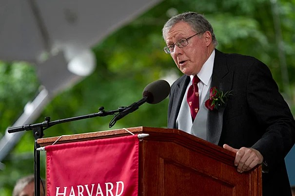 James F. Rothenberg '68, M.B.A. '70, of the Harvard Corporation, salutes Harvard alumni during the annual meeting of the Harvard Alumni Association on Commencement Day 2012.