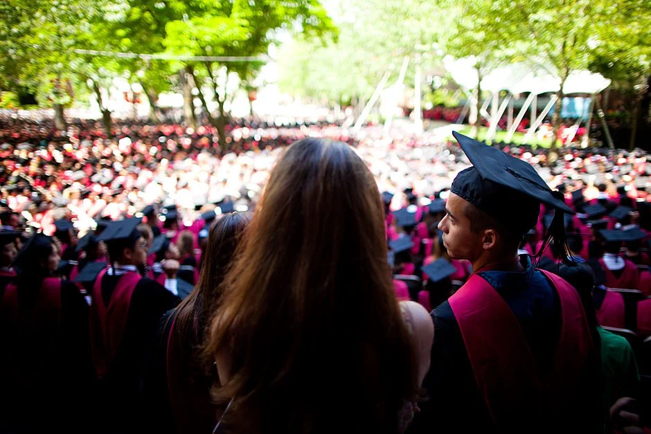 A sea of colors and dappled light as viewed from Sever Hall.  Stephanie Mitchell/Harvard Staff Photographer