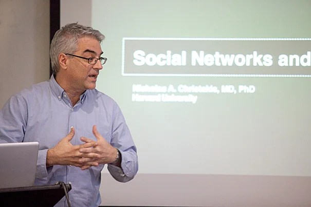 """Researchers are able to identify physician influencers, """"network leaders,"""" simply by seeing which doctors are most """"central"""" to a network, most connected by patient-sharing to other general practitioners, surgeons, and medical specialists. If """"network leaders"""" can be found, then new medical information can be more easily disseminated among doctors, according to research led by Nicholas Christakis (pictured), a professor in the sociology department in the Faculty of Arts and Sciences, and of medical sociology at Harvard Medical School."""