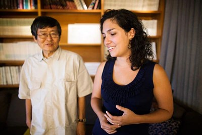 "Ken Nakayama (left) and Laura Germine are co-authors of a study that found that the quality of data obtained by doing psychological studies online can be just as good as that from in-person experiments. ""The thing I like to say about using the Web is that it's fast, it's cheap, but it's not dirty,"" said Germine. ""In experiments like ours, what you're getting is good, reliable data."""