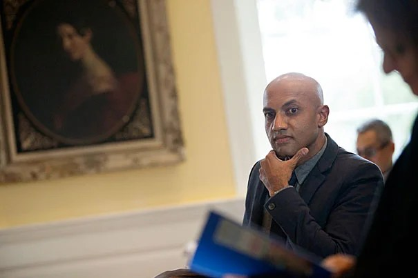 Rajesh Parameswaran kicked off this year's Radcliffe Institute for Advanced Study's series of fellow presentations Monday with a program that included readings from his well-received debut work that merges themes of love and gore, as well as from his work in progress.
