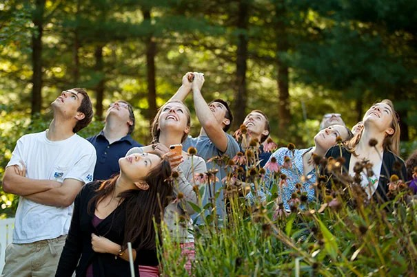 Harvard students visiting Jim Spring, a pigeon fancier in Sutton, Mass., watch as his pigeons fly and flip in the sky. Photo by Rose Lincoln/Harvard Staff Photographer