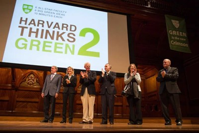 Harvard faculty spoke Tuesday at Sanders Theatre as part of Harvard Thinks Green 2, a sustainability-focused event that gave each presenter 10 minutes to talk about their ideas on the environment. They include Daniel Nocera (from left), Amy Edmondson, James Anderson, Joseph Aldy, Joyce Rosenthal, and Daniel Schrag.