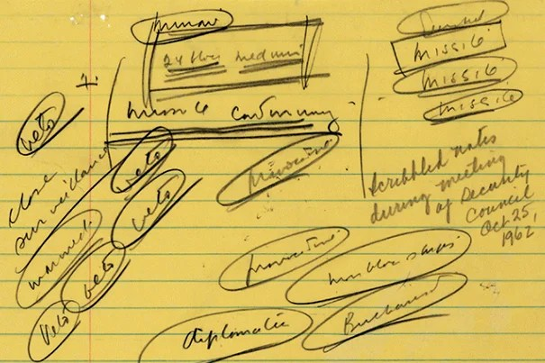 """Detail of notes taken by President John F. Kennedy during a meeting of his security council on Oct. 25, 1962. Note the word """"missile"""" written repeatedly in the upper right corner."""